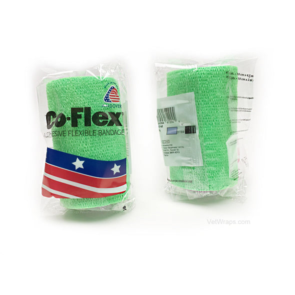 CoFlex Vet Cohesive Bandage Wrap Neon Green Pack 4 Inch Packaged Rolls