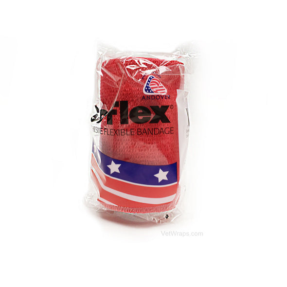 CoFlex Vet Cohesive Bandage Wrap Red 4 Inch Packaged