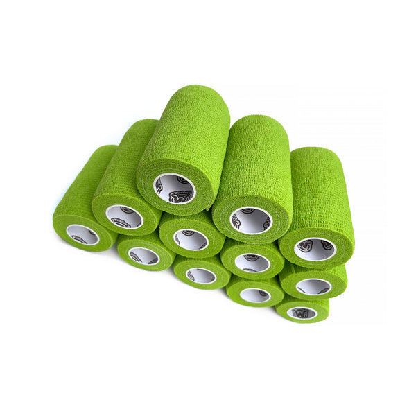 12 Pack of WildCow 4 Inch Grass Green Vet Wrap