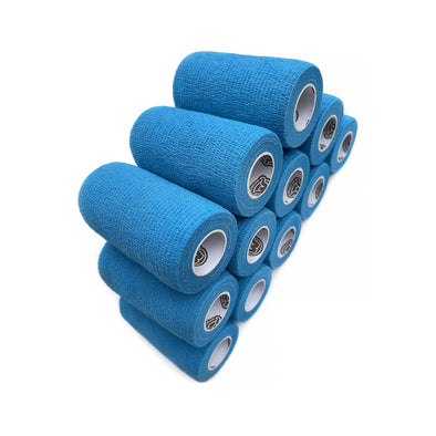12 Pack of WildCow 4 Inch Light Blue Vet Wrap