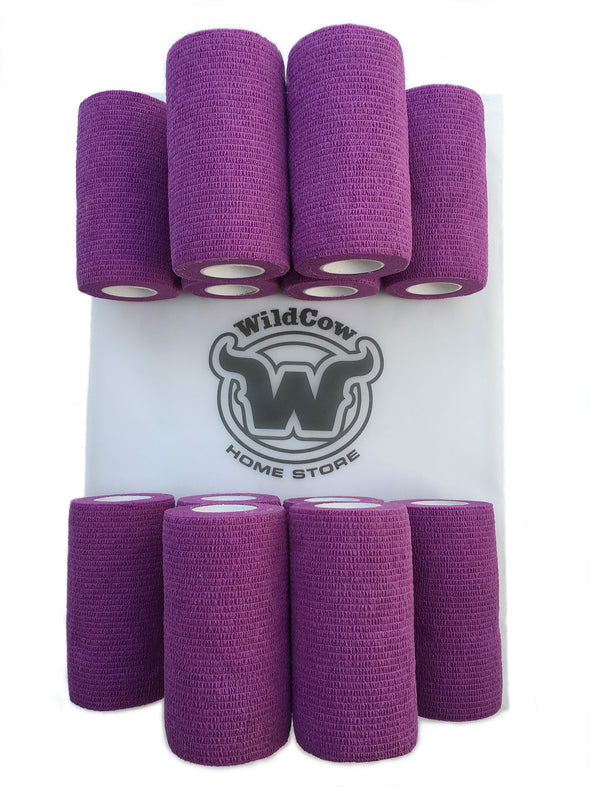 WildCow 4 Inch Purple Vet Wrap 12 Pack of Rolls (Shown with Logo)