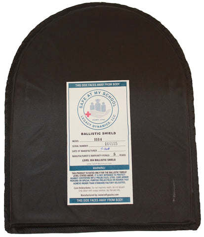 "11"" X 14"" Round Top Ballistic Shield Backpack Insert IIIA"