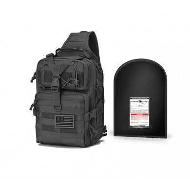 "Black Tactical Shoulder Sling Pack with 9""X12"" Level IIIA Ballistic Shield"