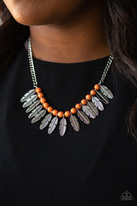 Dessert Plumes - Orange Necklace 1105N