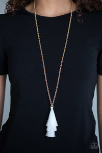 Triple Tassel - White Necklace 1008n