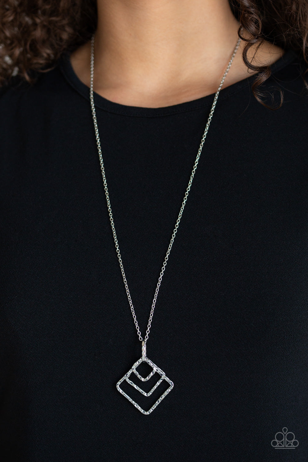 Square It Up - Silver Necklace 1114N