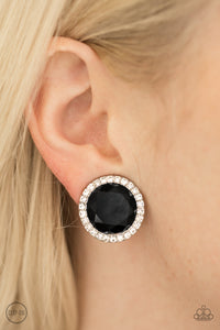 Positively Princess - Black Clip On Earrings