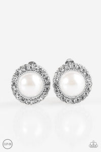 Don't Forget Your Glass Slipper ! White Clip On Earring 2651E