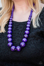 Load image into Gallery viewer, Effortlessly Everglades- Wooden Purple Necklace 1211n