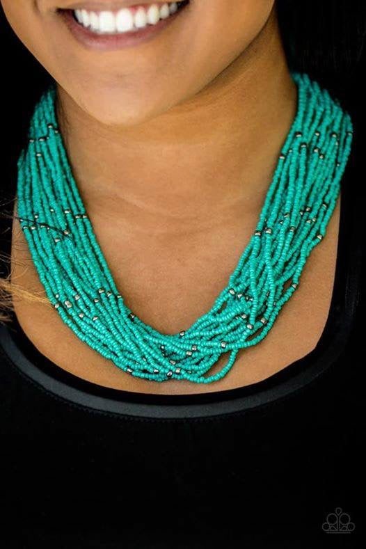 Summer Samba - Blue Seed Bead Necklace