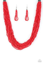 Load image into Gallery viewer, The Show Must CONGO on - Red Seed Bead Necklace 1304N