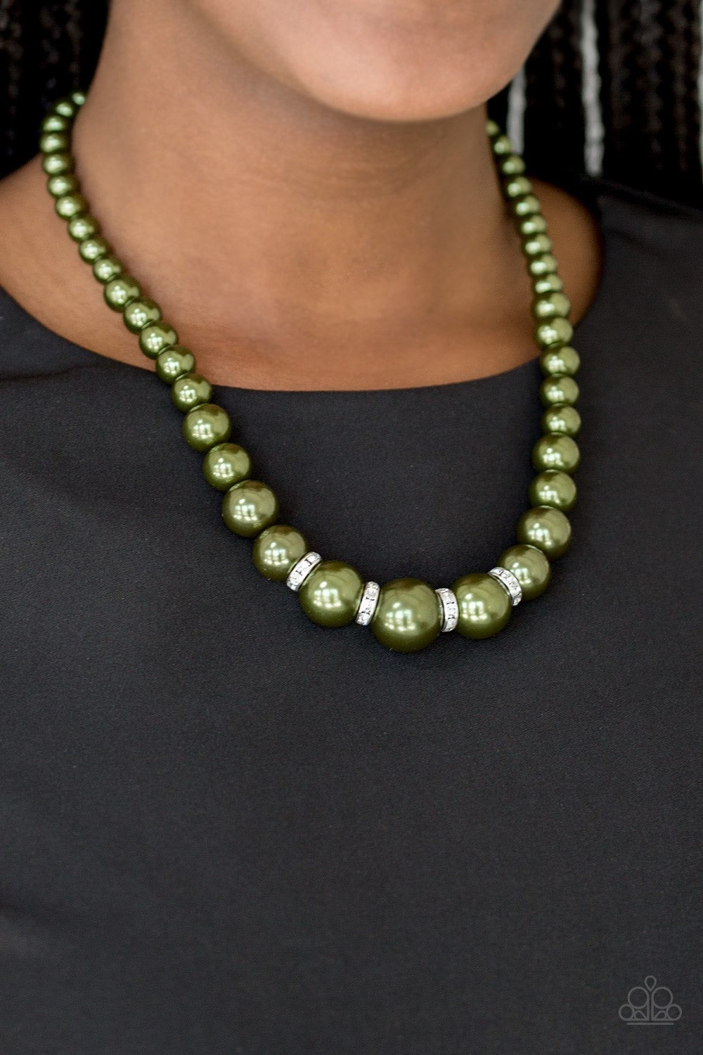 Party Pearls - Green Necklace 34n