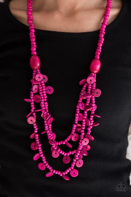 Safari Samba - Wooden Pink Necklace