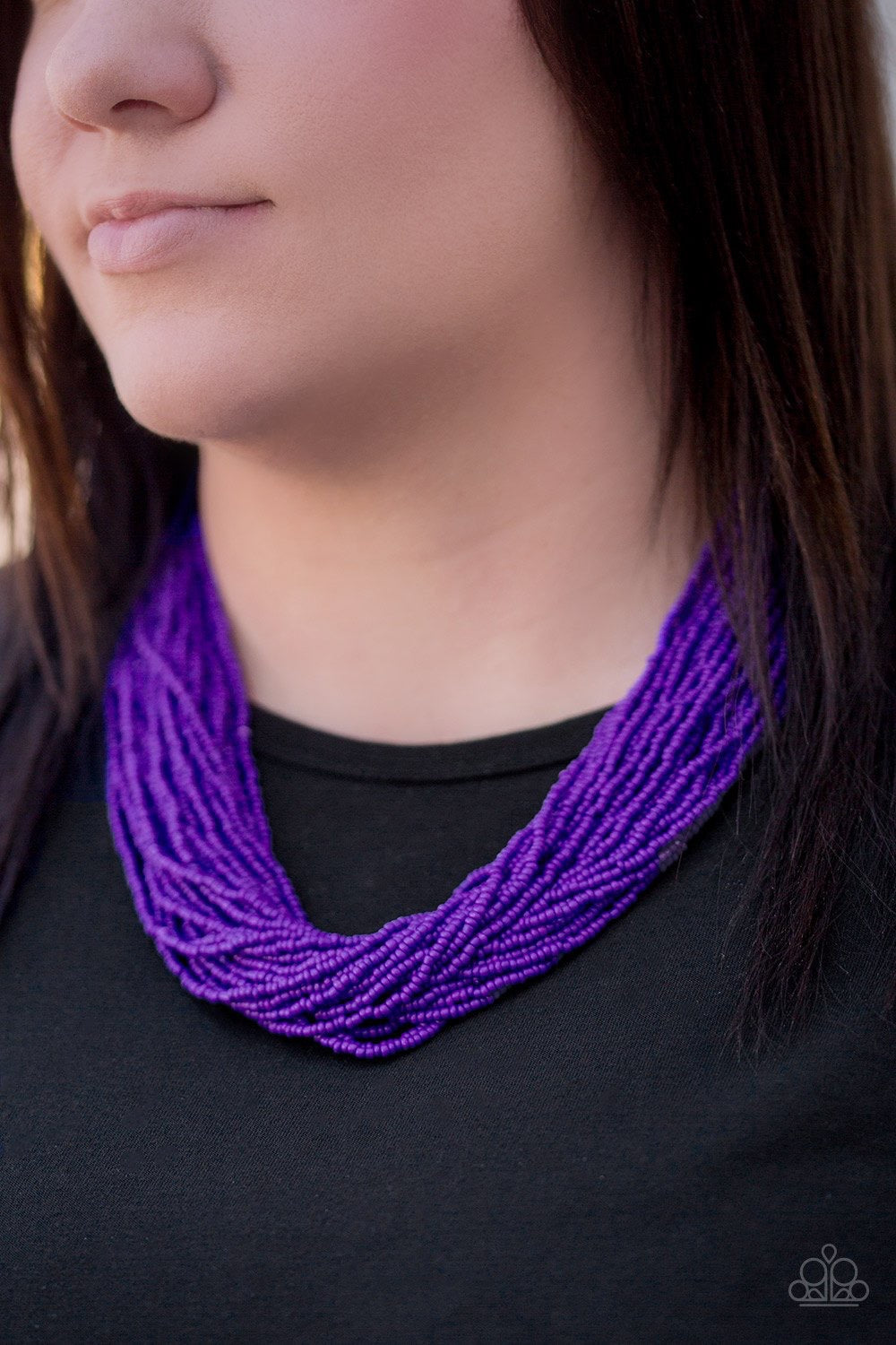 The Show Must CONGO on - Purple  Seed Bead Necklace 1304N