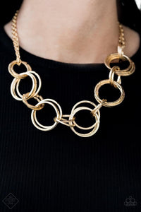 Jump Into The Ring and Give Me A Ring - Gold Necklace & Bracelet Set 1193S