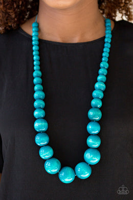 Effortlessly Everglades - Wooden Blue  Necklace