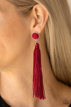 Load image into Gallery viewer, Tightrope Tassel - Red  Earring 99E