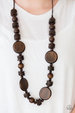 Tiki Tonga Brown - Brown Necklace