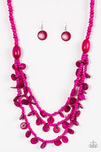 Load image into Gallery viewer, Safari Samba - Wooden Pink Necklace 1198N
