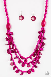 Safari Samba - Wooden Pink Necklace 1198N