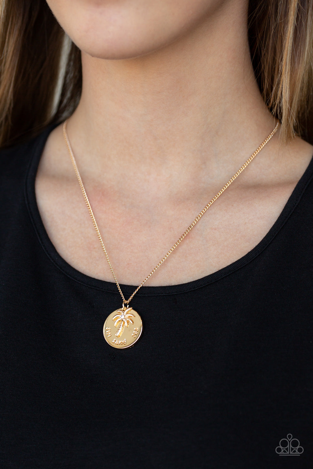 Breezy Palm Trees - Gold Necklace 2608N
