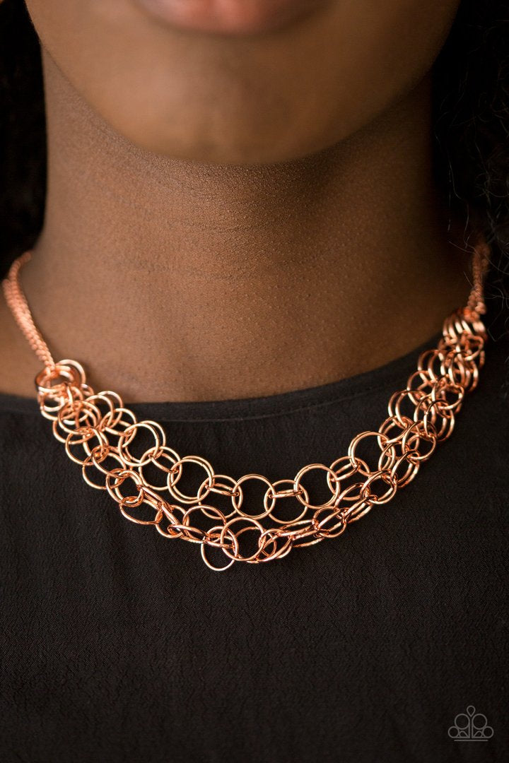 Circus Tent Tango - Rose Gold Necklace