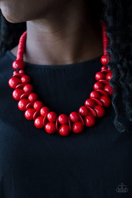 Caribbean Cover Girl - Wooden Red Necklace 902N