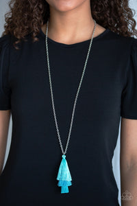 Triple The Tassel - Blue Necklace 1008n