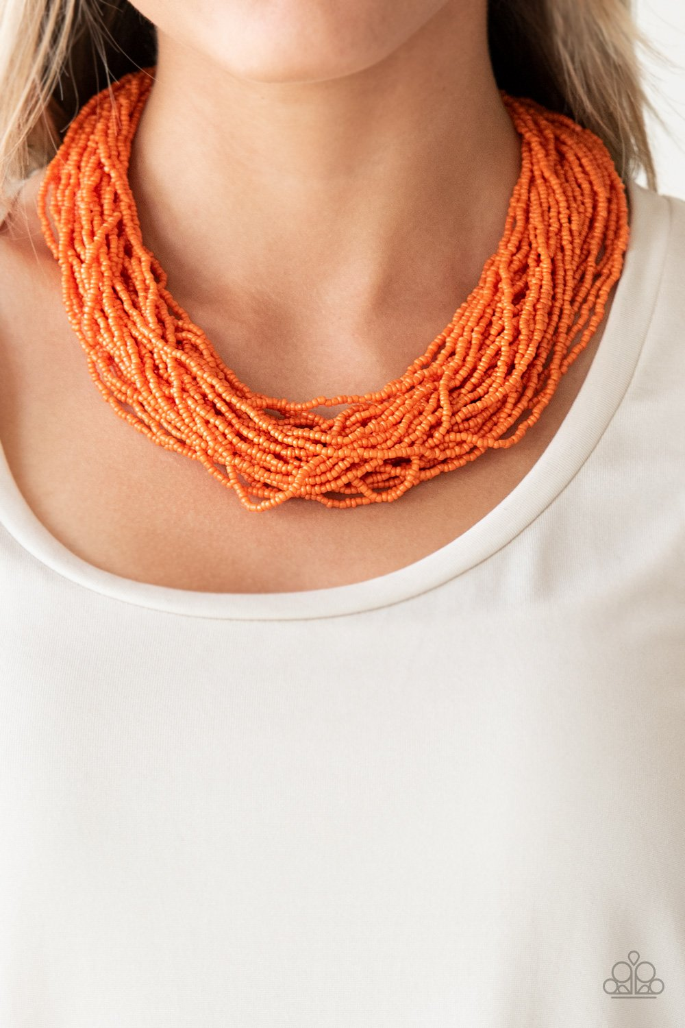 The Show Must CONGO On ! - Orange Seed Bead Necklace 1304N