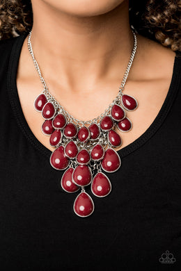 Shop Til You TEARDROP - Red Necklace