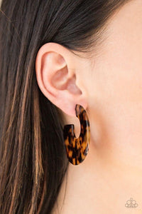 Tropically Torrid -Brown Earrings Hoops 2530E
