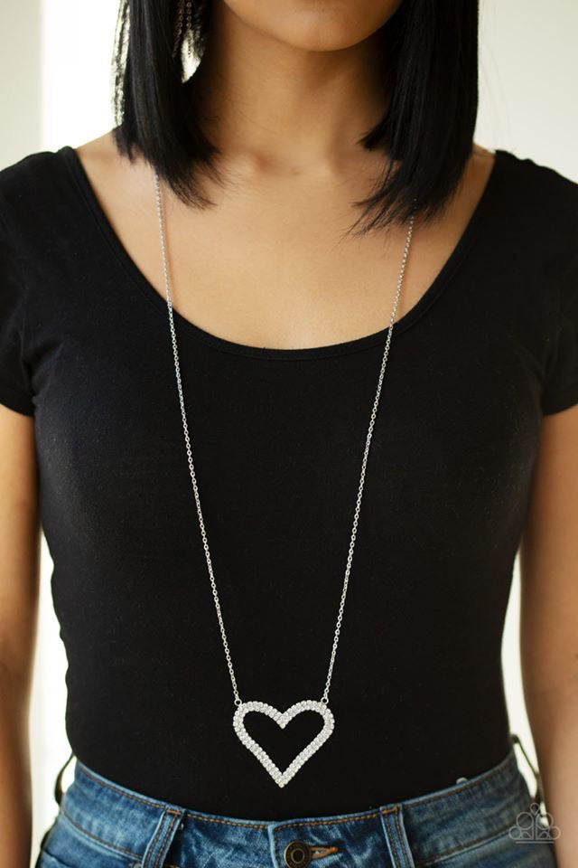 Pull Some Heart - White Necklace 1134N