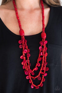 Safari Samba - Wooden Red Necklace