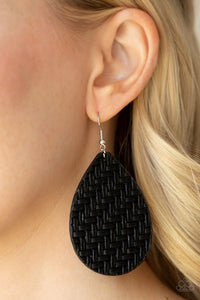 Teardrop Trend - Black Earring