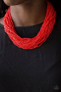 The Show Must CONGO on - Red Seed Bead Necklace 1304N