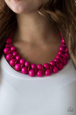 Caribbean Cover Girl -  Pink Wooden Necklace 902N