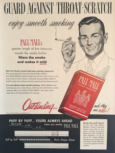 Vintage Pall Mall Cigarette Advertisement