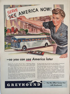 Vintage Greyhound Bus Wartime Advertisement