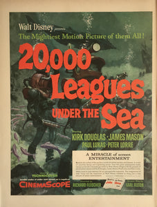 Vintage Walt Disney 20,000 Leagues Under The Sea Movie Advertisement