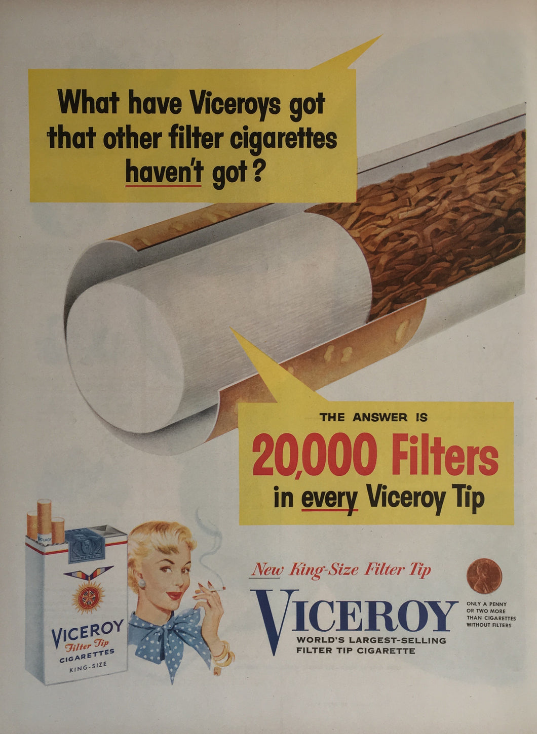 Vintage Viceroy Cigarettes Advertisement