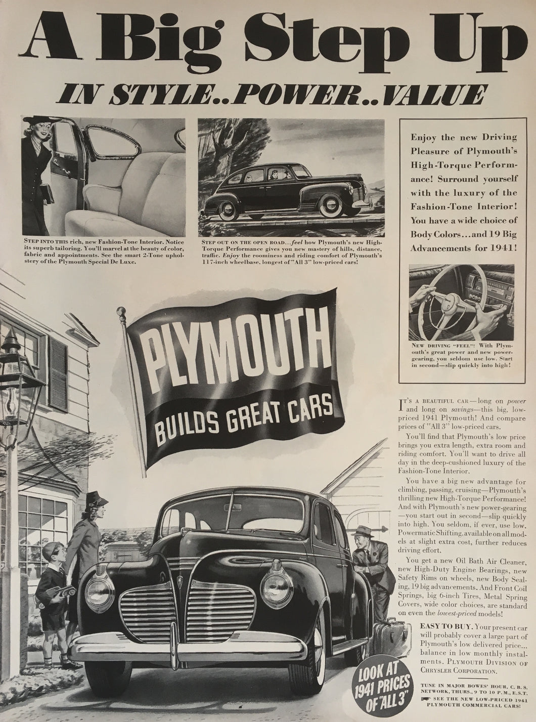 Vintage Plymouth Car Advertisement