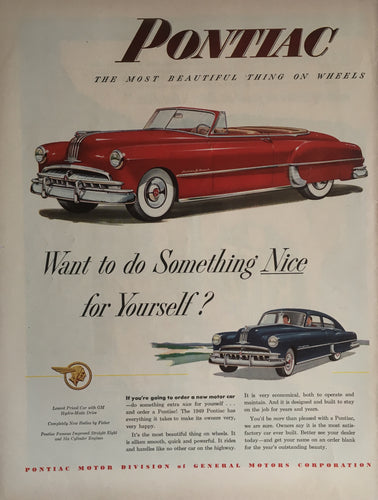 Vintage Pontiac Car Advertisement