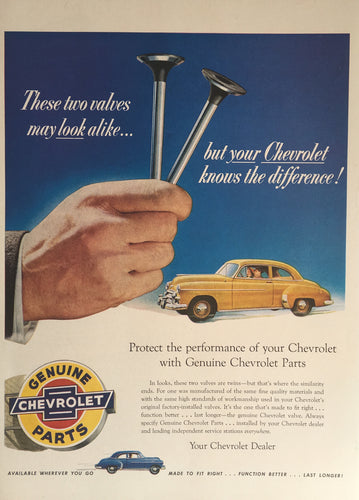 Vintage Chevrolet Car Parts Advertisement