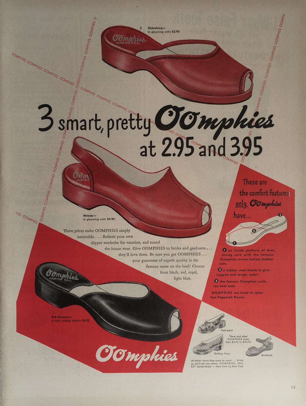 Vintage Oomphies Women's Shoes Advertisement
