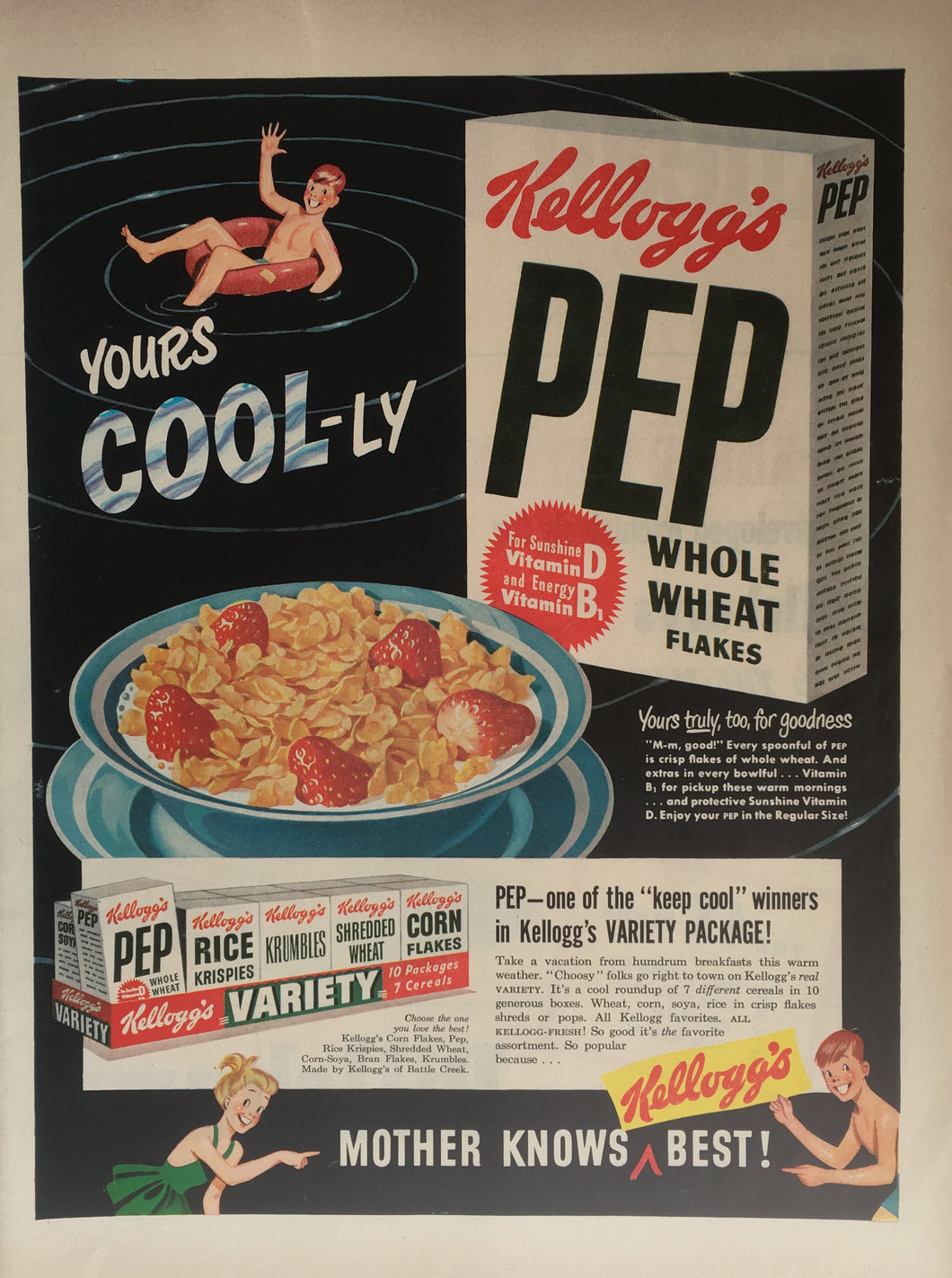 Vintage Kellogg's PEP Cereal Advertisement