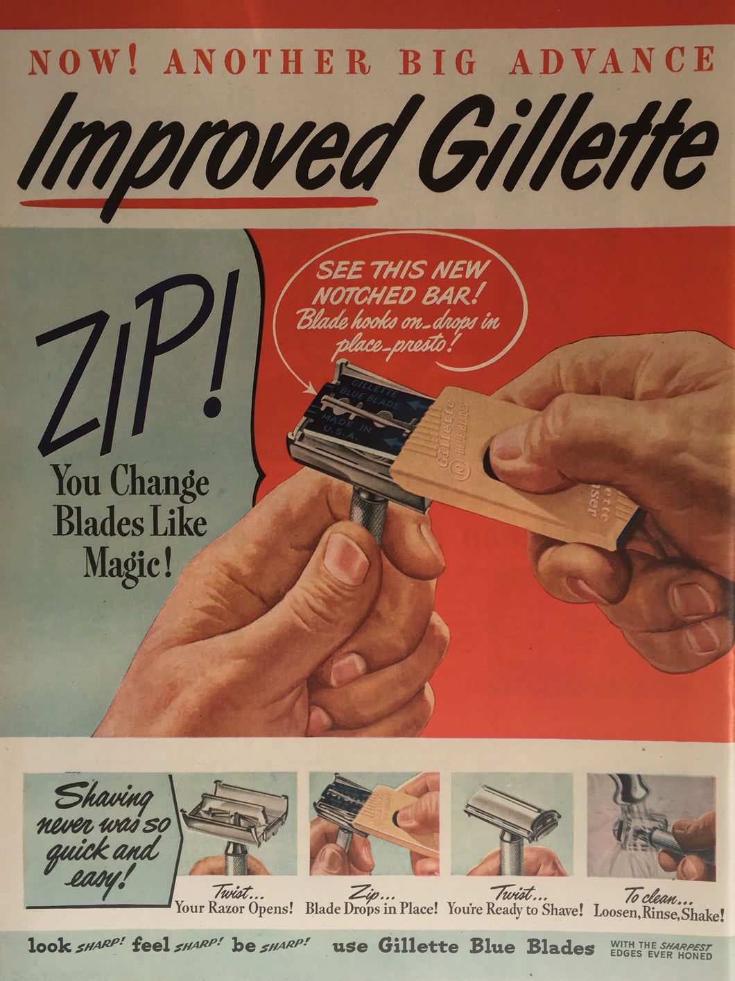 Vintage Gillette Razors Advertisement