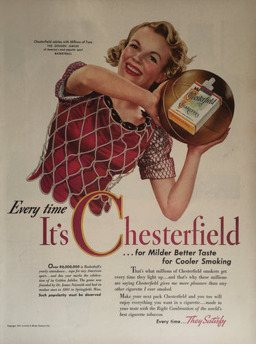 Vintage Chesterfield Cigarette Advertisement