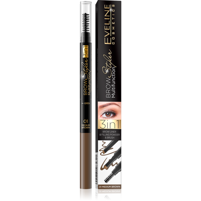 Olovka za obrve BROW STYLER 3u1 -01 Medium brown