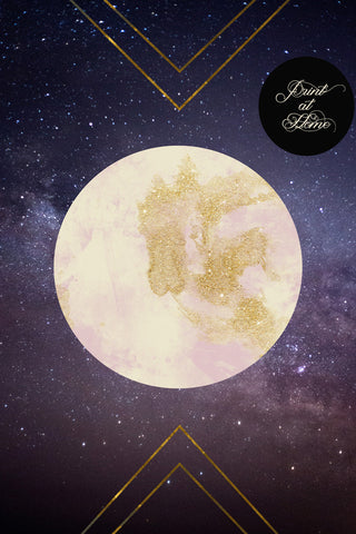 picture relating to Printable Moon identified as Glitter Moon - Printable Wall Artwork - Mai Autumn