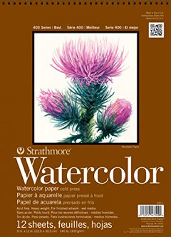 "Strathmore 440-1 400 Series Watercolor Pad, 9""x12"" Wire Bound, 12 Sheets"